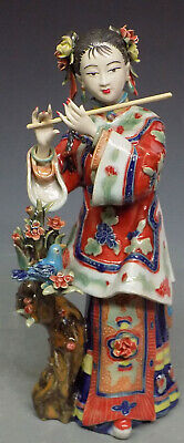 Musician Lady Bird Playing Flute Porcelain / Ceramic Figurine - Musician Ceramic Figurine