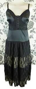 NEW-JOE-BROWNS-BLACK-LACE-CORSET-DRESS-10-12-14-victorian-steampunk-goth-PLUS