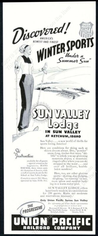 1937 Sun Valley ski area woman skier skiing & Lodge art vintage print ad