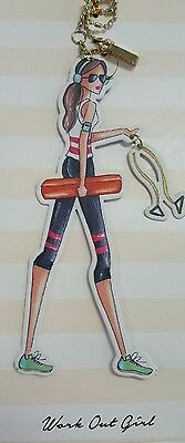 "Metal Charm -""Workout Girl"". Hang from purse, car mirror, wine bottle, etc. NWT"
