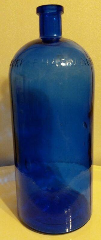 """Large """"NEW YORK PHARMACAL ASSOCIATION"""" Cobalt Blue Cork top Medicine Bottle"""