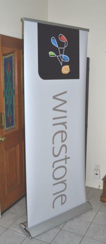 "* Retractable Roll Up Display Banner and Stand 79"" x 32"""