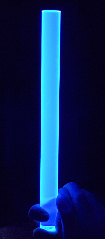 "CLEAR BLUE FLUORESCENT ACRYLIC PLEXIGLASS LUCITE ROD 1"" DIAMETER 18"" INCH LONG"