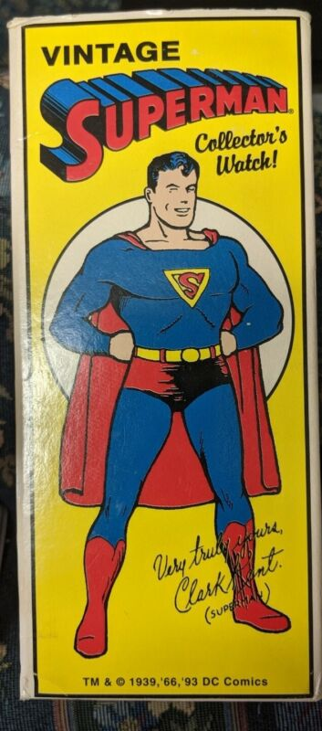 VINTAGE 1993 FOSSIL SUPERMAN WATCH WITH PHONE BOOTH BANK LIMITED EDITION *NEW*
