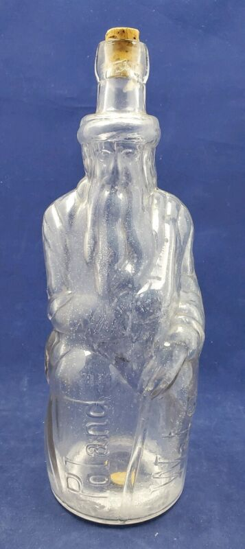 ORIGINAL Poland Mineral Spring Water Figural Moses Bottle H. Ricker & Son