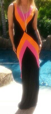 Maya Antonia-TALL SIZE- V-Black-Hot Pink-Orange Color Block Elegant Maxi Dress](Pink Orange Color)