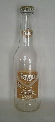 FAYGO Vanilla Creme 12 oz Empty Glass Bottle with Cap Vintage Look