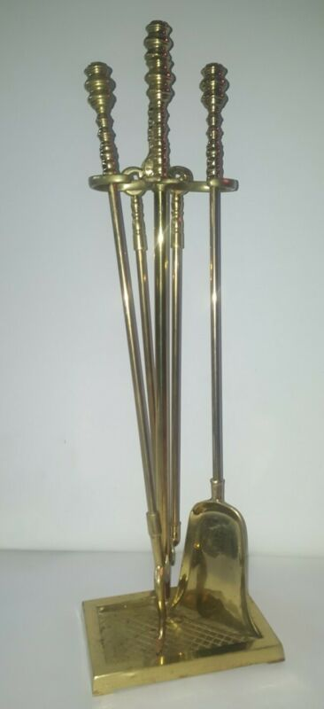Virginia Metalcrafters Harvin Solid Brass Fireplace Tools - Set of 4