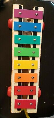 Vintage FISHER PRICE Wooden Musical Xylophone Pull Along 1964-1978, #870