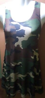 HELIUM Authentic Paris: camouflage, stretch, mid thigh tank dress, Size S - Small Helium Tank