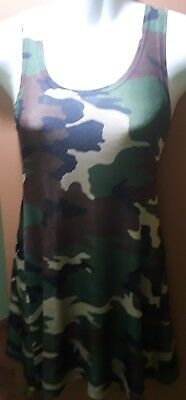 HELIUM Authentic Paris: camouflage, stretch, mid thigh tank dress, Size