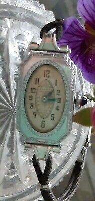Vintage Antique Ladies Art Deco Bulova Watch w/Sapphire Crown~Black Silk Band