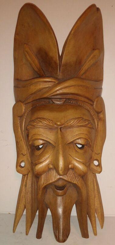 "Chinese mask older man hand carved vintage very fine wood folk art mask 11"" Tall"