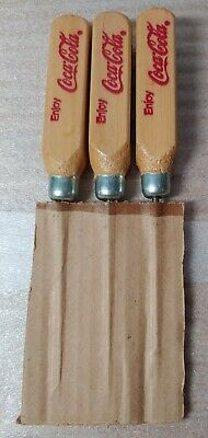 Sleeve of 3 Vintage Coca Cola Advertising Wooden Handled Ice Picks.