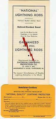 NATIONAL LIGHTNING RODS PROTECTION CO*INSTALLATION CERTIFICATE + FOLD OUT ADVERT