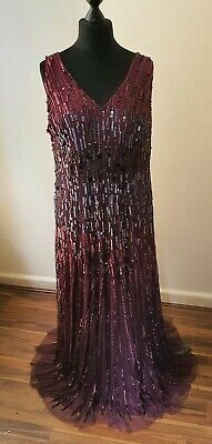 No 1Jenny Packham Wine Sequin Showstopper Maxi Dress Size UK 22 RRP £195