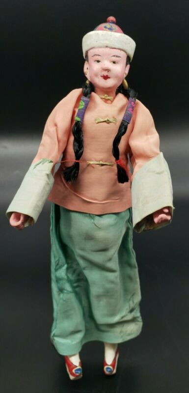 ANTIQUE HAND-PAINTED CHINESE CHARACTER DOLL with Attached Wire Stand