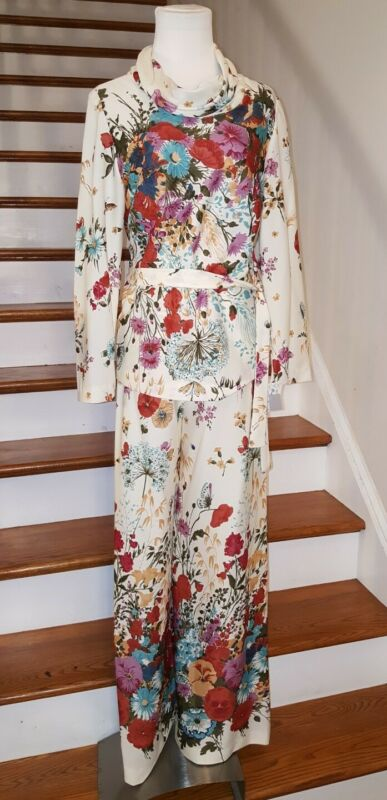 Vintage 70s Leisure Two Piece Suit Polyester Floral Womens Sz Large NWT