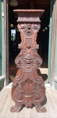 VICTORIAN HORNER  STYLE FIGURAL MAHOGANY PEDESTAL