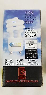 New 13W CFL Mini Spiral GU24 Base 2700K Soft White 60W Fluorescent Light