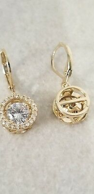 YELLOW GOLD PLATED 1.25 CARAT EACH 6.5MM ROUND CUT CZ HALO LEVERBACK EARRINGS Each Round Leverback Earrings