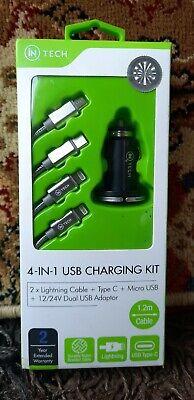 iN-Tech 4 in 1 2 x Lightning, Micro USB & Type C...