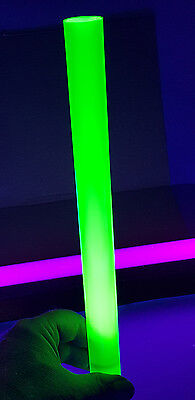 1 12 Diameter 12 Inch Long Clear Green Fluorescent Acrylic Lucite Rod 38mm