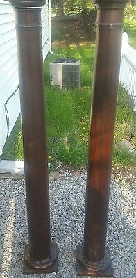 Pair of Antique Wooden Pillars Dark Brown Stain Local Pickup