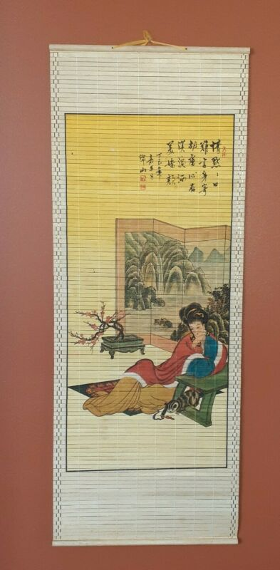 Bamboo Asian Art Hanging Slatted Art Wall Scroll GEISHA with CAT in HOME
