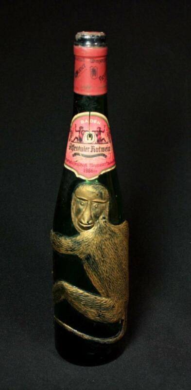 Vintage Affentaler Rotwein Spatburgunder Empty Green Monkey Wine Bottle 1966