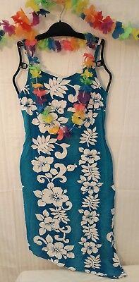 White Luau Dress (Hawaiian Sun Dress Blue & White Floral  Luau Party)