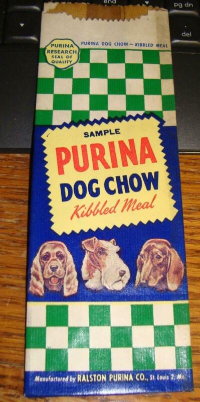 1949 Purina Dog Chow Kibbled Meal Sample Bag NEW OLD STOCK Dog Graphics
