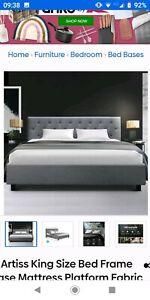 King Size Bed Frame Platform Fabric