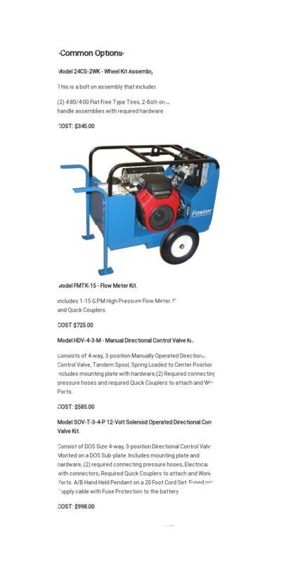 Foster hydraulic power unit with Honda 12.5 hp engine