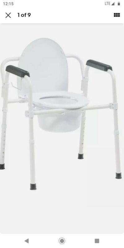 Drive Medical Steel Folding Deep Seat Bedside Commode, White