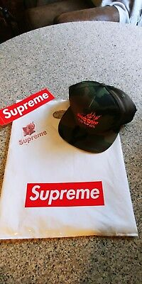 SUPREME FIRE 6 PANEL CAP..WOODLAND CAMO..+ PINK ELEPHANT & SUPREME STICKER..BAG