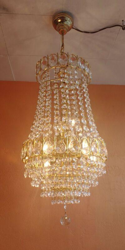"Vintage Brass French Crystal Wedding Cake Chandelier  12""x24,""  8 Light"