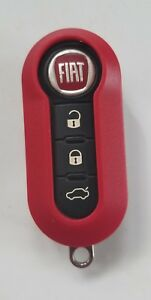 New RED Case for FIAT 500 3 Button Remote Flip Key Fob LTQF12AM433TX