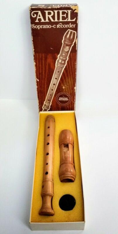 Gevim Ariel Recorder Soprano - C All Wood Original Box Made In Israel Vintage