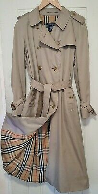 BURBERRYS RP £1490 PRORSUM GABARDINE TRENCH COAT 14 LONG BURBERRY NOVA CHECK VTG