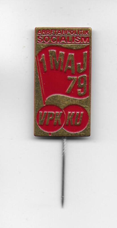 Swedish Communist Party VPK May 1979 KU Youth original metal pin Socialism