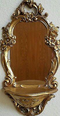 Vintage Hollywood Regency Gold Wall Mirror With Shelf Dart Syroco