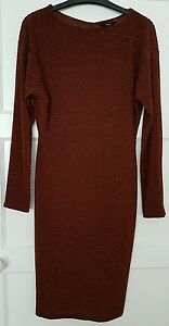 Stunning BNWT * NEXT *,Size 8,bronze sparkle drape stretchy dress, New