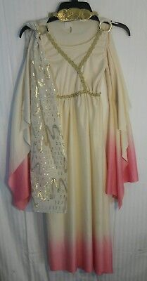 Girl's-Gold-Ivory-Pink GREEK-ROMAN GODDESS Athena Robe Dress-Up COSTUME Hairband