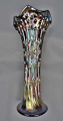 "Fenton APRIL SHOWERS Blue Carnival Glass 10"" Vase F028"