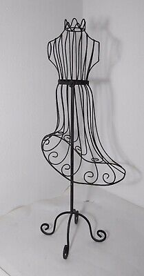 Vintage Black Metal Wire Frame Decorative Dress Form Mannequin Girls Display
