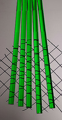 """5 CLEAR GREEN 1/2"""" DIAMETER 12"""" INCH LONG ACRYLIC PLEXIGLASS LUCITE COLORED ROD"""