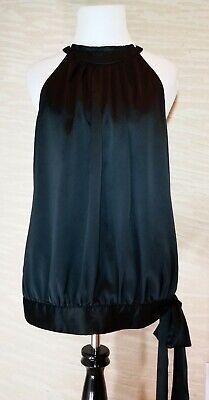 New York & Company Black Satin Top Shirt M Black Satin Top Shirt