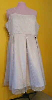 Lindy Bop Cream Net Polka Dot Lace Dress size 24 plus, BNWT rock, jive w
