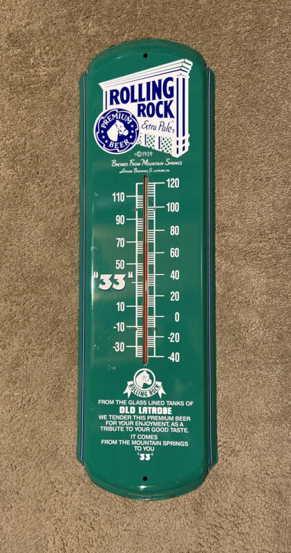 Rolling Rock Latrobe Brewing Co. Thermometer Vintage 1992 Rare